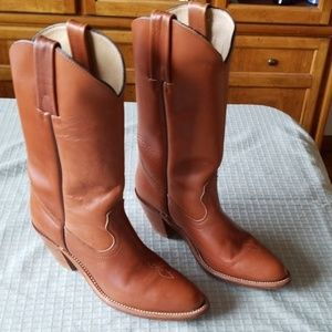 Frye 7105 Tan Leather Western Boots, Size: 9AA